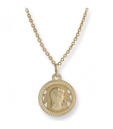 Conjunto gargantilla y medalla de 1ª Comunión Virgen María Floreado