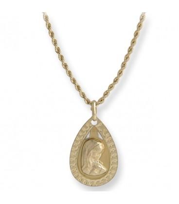 Conjunto gargantilla y medalla de 1ª Comunión Virgen María Ovalado