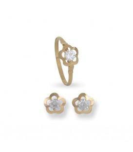 Conjunto de pendientes y anillo de 1ª Comunión Floreado