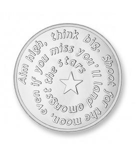 Moneda Aim high & pistol rodio oro blanco L