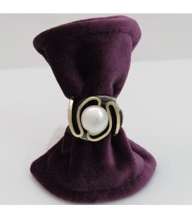 Anillo plata, oro y perla Styliano