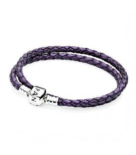 Pulsera Pandora cuero púrpura