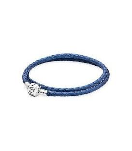 Pulsera Pandora Doble de Cuero Azul