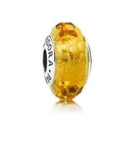 Charm murano facetado dorado