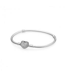 Pulsera Pandora cierre de corazon en pavé 18cm