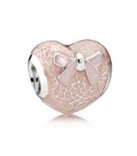 Abalorio Pandora lazo rosa y corazón