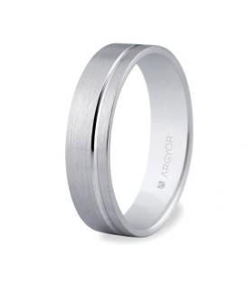 Alianza boda oro blanco plana 5mm
