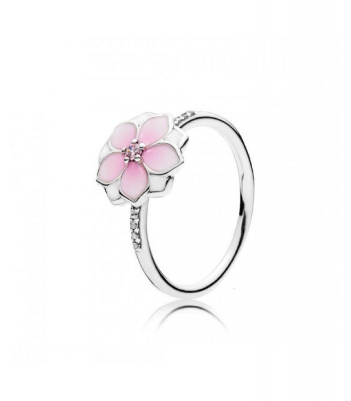 anillo pandora piedra rosa