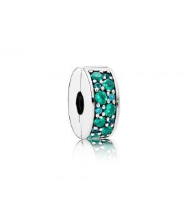 Clip Pandora Brillante Mosaico Verde Azulado