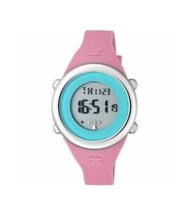 Reloj Tous Soft Digital de acero con correa de silicona fúcsia