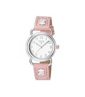 Reloj Tous Baby Bear de acero con correa de piel rosa