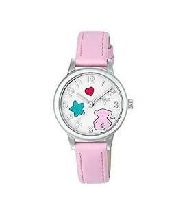 Reloj Tous Muffin de acero con correa de piel rosa