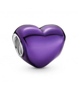 Charm corazón morado metálico Pandora 799291C01