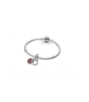 Charm colgante plata doble disco rojo brillante Pandora 799186C03