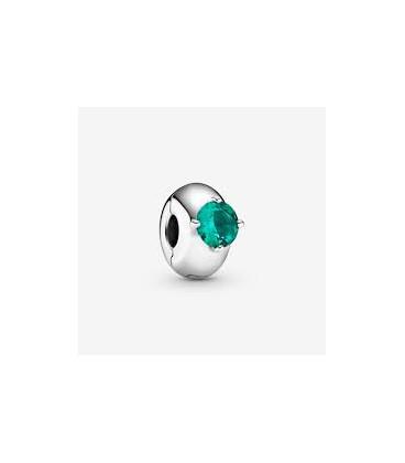 Clip plata círculo solitario verde 799204C03