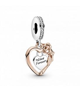Abalorio Pandora Rose Corazón y Flor Rosa 789290C01