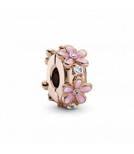 Clip Pandora rosé margaritas esmaltadas 788809C01