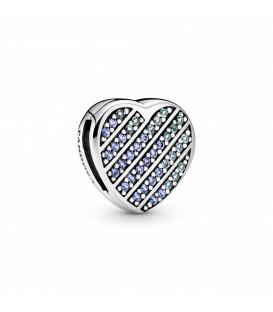 Charm reflexión Pandora corazón en pavé azul 799346C01