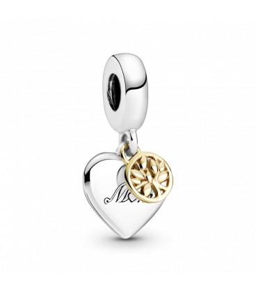 Abalorio Pandora Árbol de la Familia y Corazón en Dos Tonos 799366C00