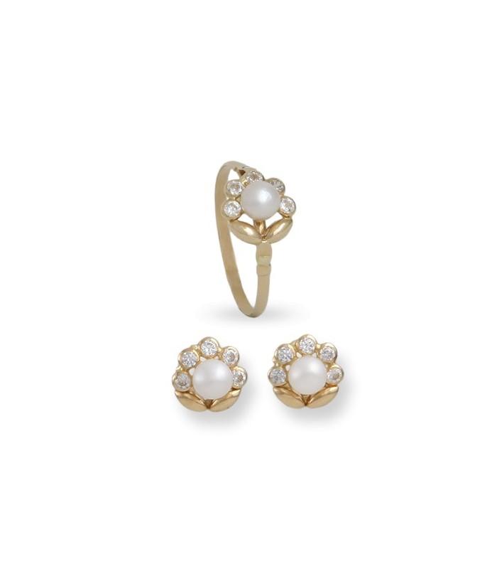 b7ec9d5f76e8 Conjunto de pendientes y anillo de 1ª Comunión Floreado