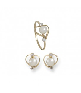 Conjunto de pendientes y anillo de 1ª Comunión Corazón