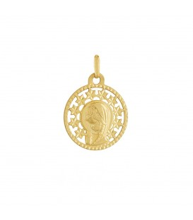 Medalla de oro virgen niña y estrellas.