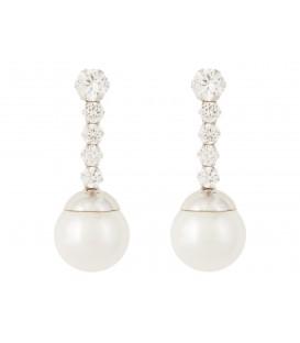 Pendientes de oro blanco, perla y circonita
