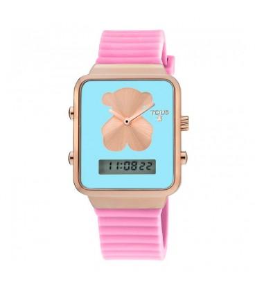 Reloj digital Tous I-Bear de acero rosado con correa de silicona rosa