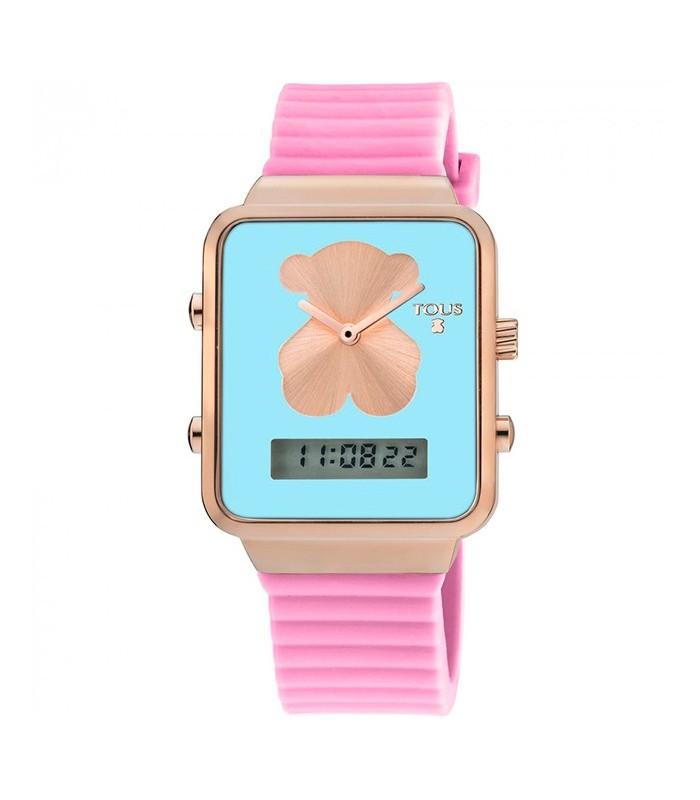 Reloj Digital Tous I Bear De Acero Rosado Con Correa De