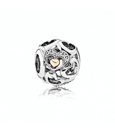 Abalorio Pandora bola de corazanes plata y oro