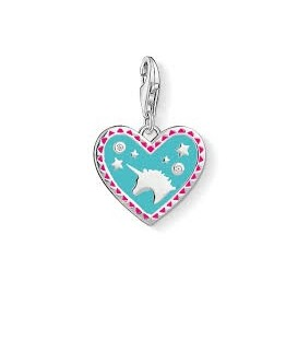 Abalorio Colgante corazon con unicornio