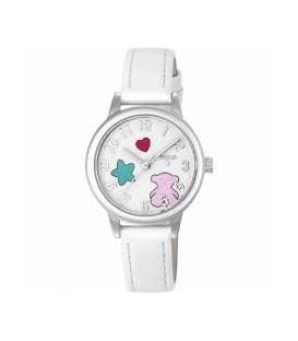 Reloj Muffin de acero con correa de piel blanca