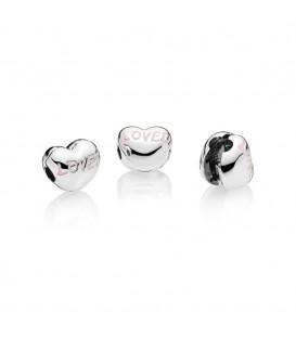 Clip en plata de ley corazón amado Pandora 797807en124