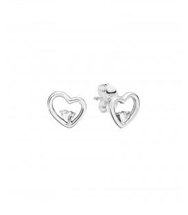 Pendientes Pandora corazones de amor asimétrico 297813CZ