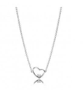 Collar Pandora corazón de amor asimétrico 397797CZ-45