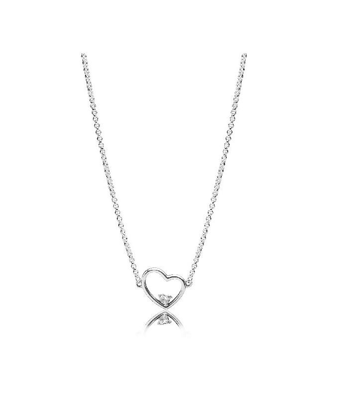56bc793f63bb Collar Pandora corazón de amor asimétrico 397797CZ-45