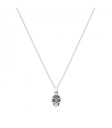 Collar calavera plata circonita negra Itemporality SNL-102-008-01
