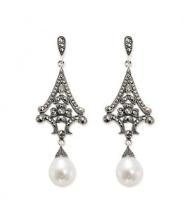 Pendiente Yanes plata, marcasita y perla 230313002